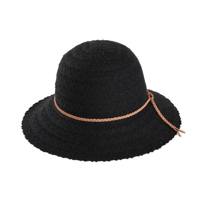 Elegant Foldable Solid Hollow Lace Straw Hats | Bridelily - Black Sun Hats - straw hats