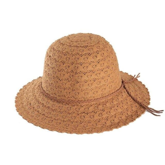 Elegant Foldable Solid Hollow Lace Straw Hats | Bridelily - Brown Sun Hats - straw hats