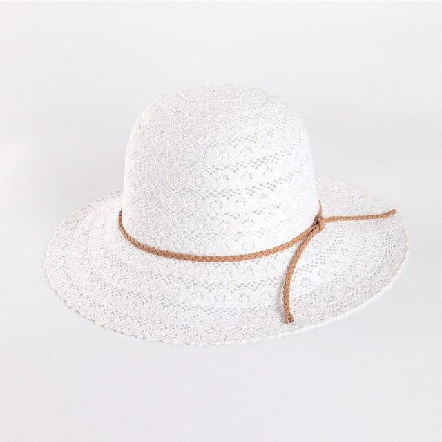 Elegant Foldable Solid Hollow Lace Straw Hats | Bridelily - White Sun Hats - straw hats