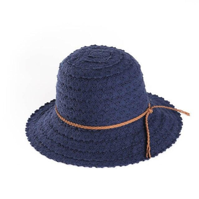 Elegant Foldable Solid Hollow Lace Straw Hats | Bridelily - Navy Sun Hats - straw hats
