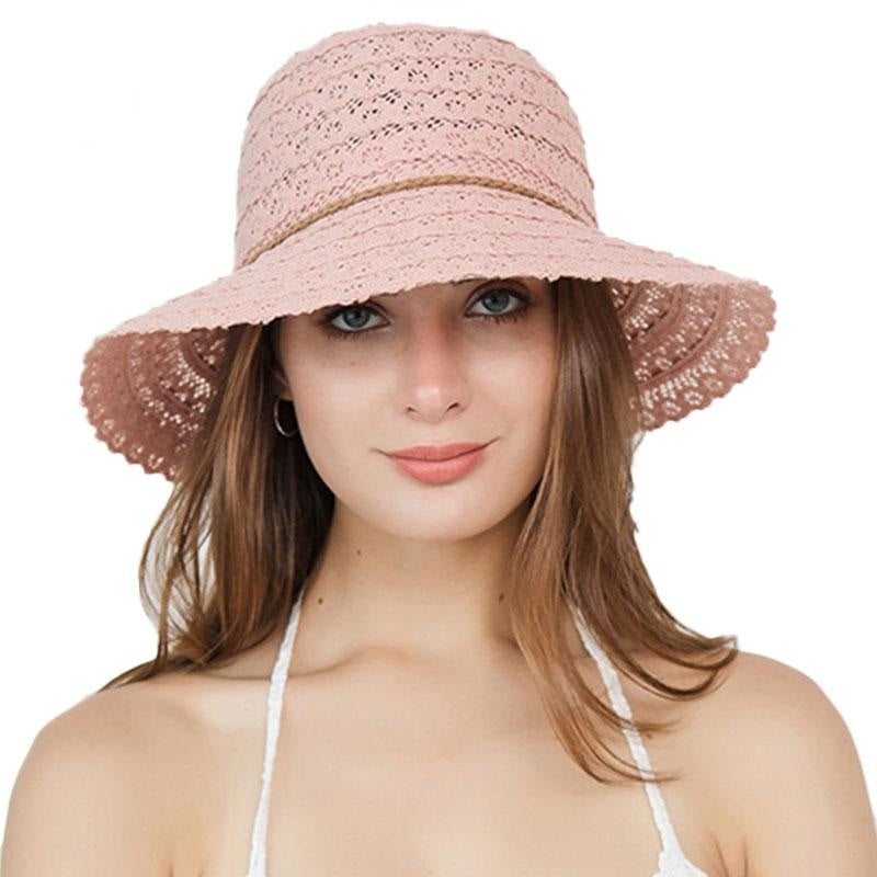 Elegant Foldable Solid Hollow Lace Straw Hats | Bridelily - straw hats