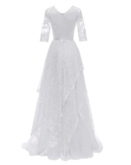 Elegant Half Sleeves V-neck Lace Boho Wedding Dress - wedding dresses