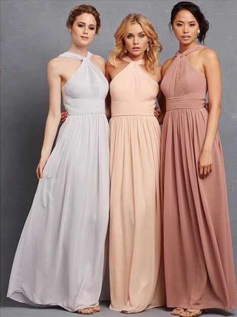 Elegant Halter Ruffles Empire Floor-length Chiffon Bridesmaid Dress - Bridesmaid Dresses