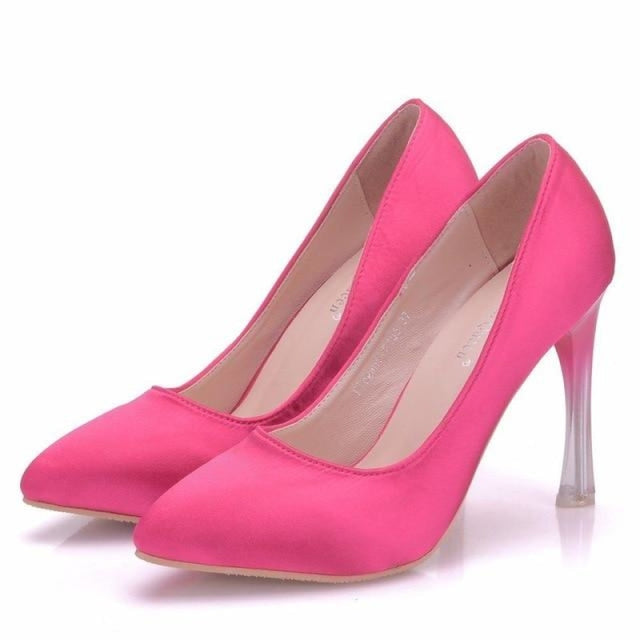 Elegant High Heels Crystal Wedding Pumps | Bridelily - fuchsia / 34 - wedding pumps