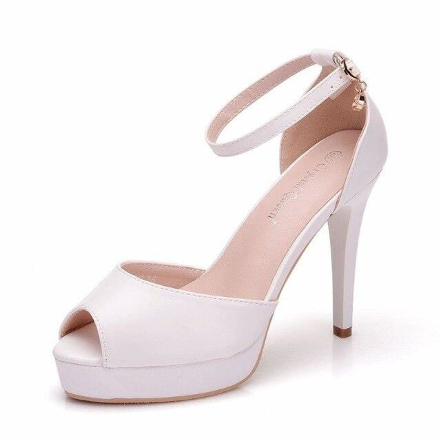 Elegant High Heels Handmade Wedding Sandals | Bridelily - WHITE / 34 - wedding sandals