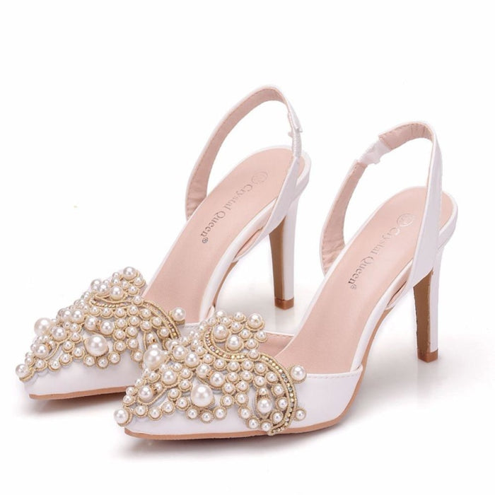 Elegant High Heels Lace Pearl Wedding Sandals | Bridelily - wedding sandals