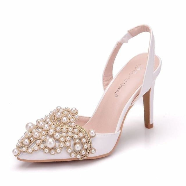 Elegant High Heels Lace Pearl Wedding Sandals | Bridelily - white / 35 - wedding sandals