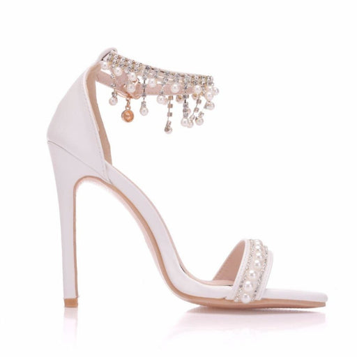 Elegant High Heels Pearl Rhinestone Wedding Sandals | Bridelily - wedding sandals