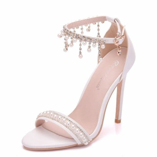 Elegant High Heels Pearl Rhinestone Wedding Sandals | Bridelily - white / 35 - wedding sandals