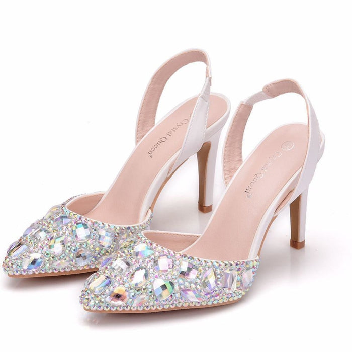 Elegant High Heels Rhinestone Wedding Sandals | Bridelily - AB / 35 - wedding sandals
