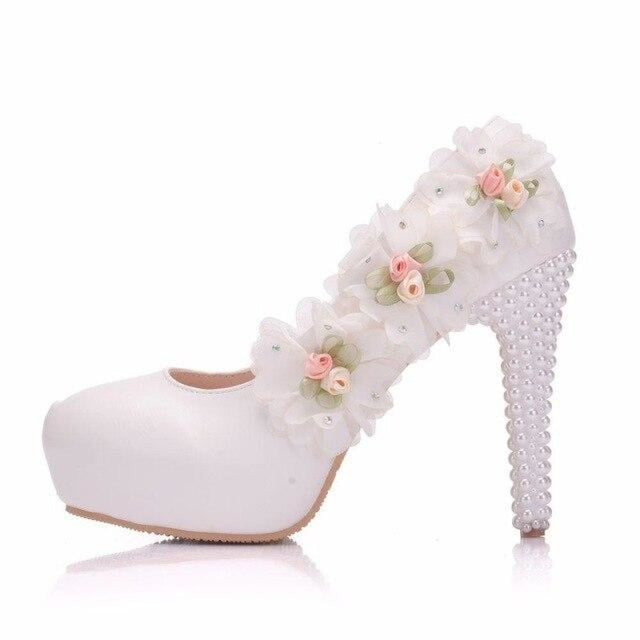Elegant High Heels White Lace Wedding Pumps | Bridelily - white 11cm / 34 - wedding pumps