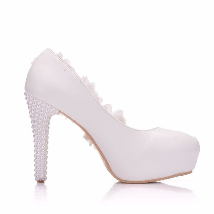 Elegant High Heels White Lace Wedding Pumps | Bridelily - wedding pumps