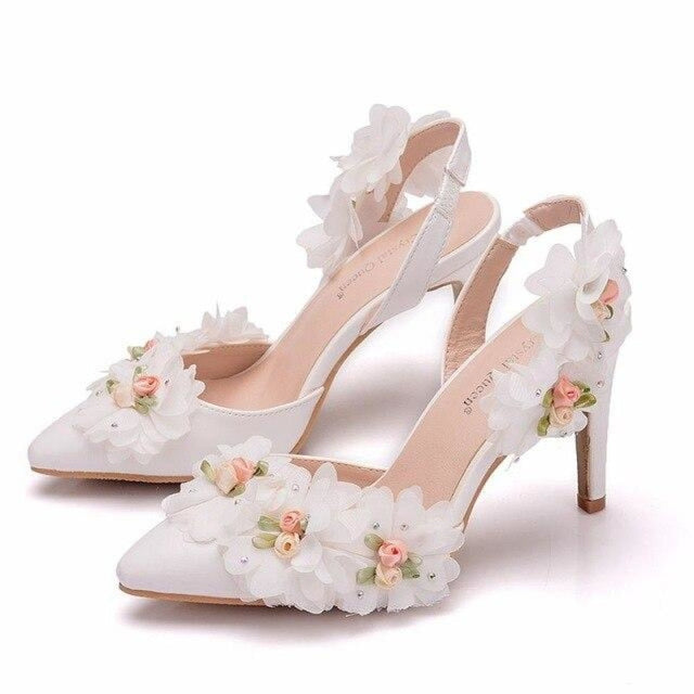 Elegant Lace Flower Wedding Sandals | Bridelily - WHITE / 35 - wedding sandals