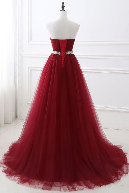 Elegant Lace-up Strapless Sweetheart Tulle Red Prom Dress - Prom Dress