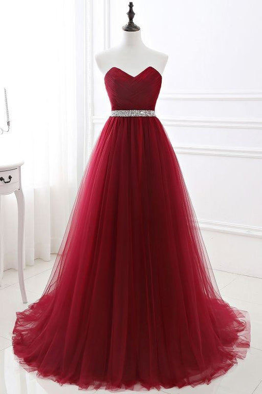 Elegant Lace-up Strapless Sweetheart Tulle Red Prom Dress - As Picture / US 2 - Prom Dress