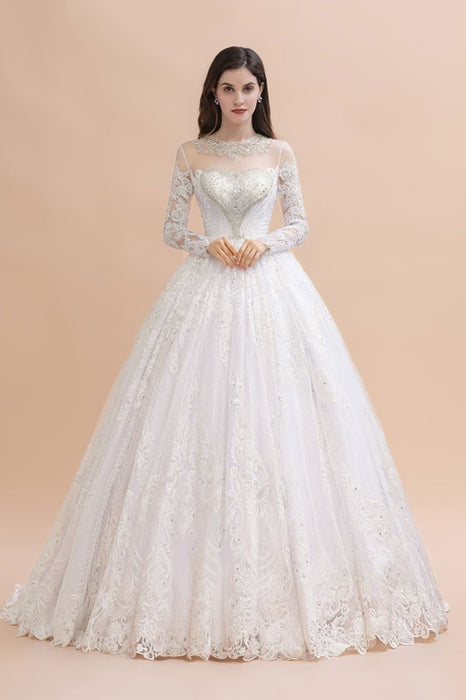 Elegant Long Sleeve Ctystal Beaded Lace Ball Gown Wedding Dress - wedding dresses