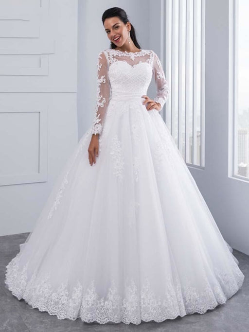 Elegant Long Sleeves Lace Appliques Ball Gown Wedding Dresses - White / Floor Length - wedding dresses
