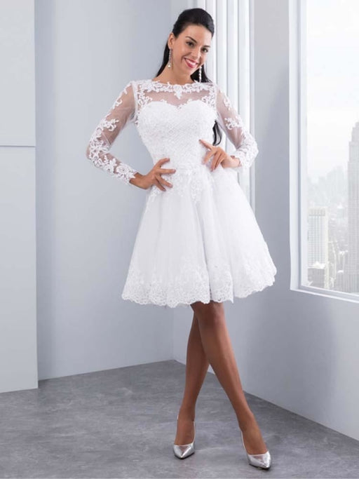 Elegant Long Sleeves Lace Appliques Ball Gown Wedding Dresses - wedding dresses
