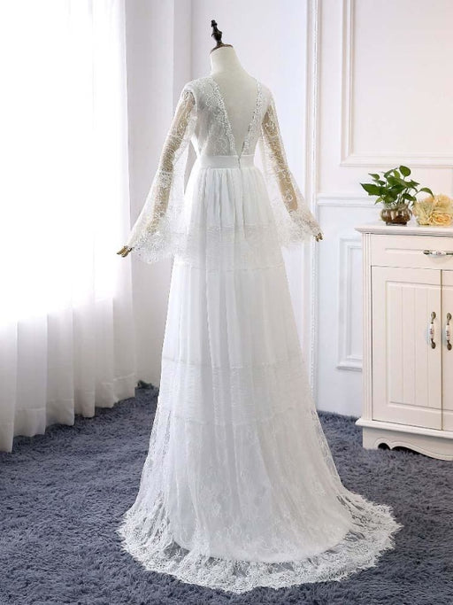 Elegant Long Sleeves V-Neck Tulle Wedding Dresses - wedding dresses
