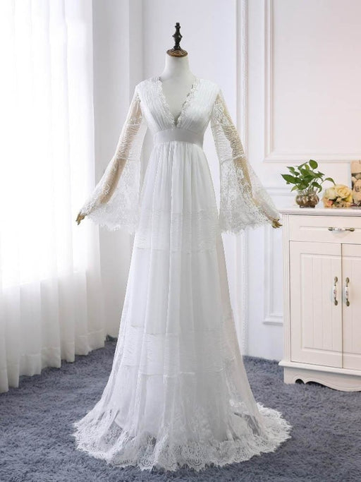 Elegant Long Sleeves V-Neck Tulle Wedding Dresses - White / Floor Length - wedding dresses