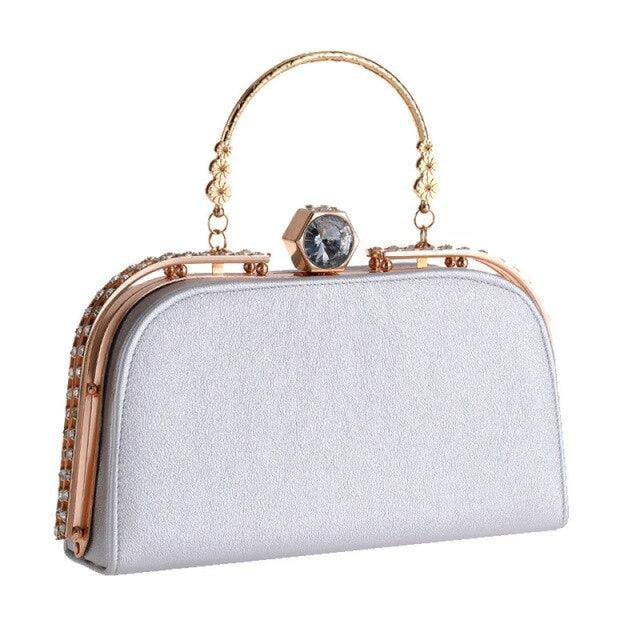 Elegant Metal Crystal Pu Clutch Wedding Handbags | Bridelily - Sliver - wedding handbags