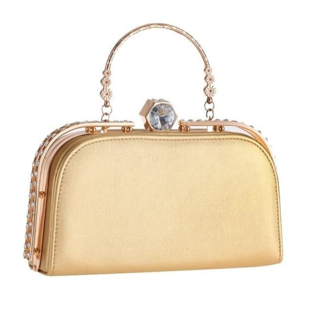 Elegant Metal Crystal Pu Clutch Wedding Handbags | Bridelily - Gold - wedding handbags