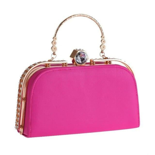 Elegant Metal Crystal Pu Clutch Wedding Handbags | Bridelily - Rose Red - wedding handbags