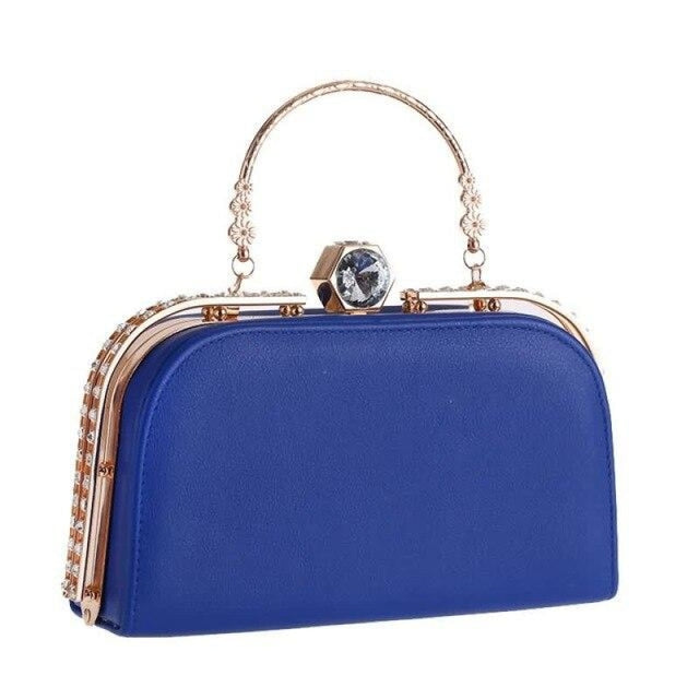 Elegant Metal Crystal Pu Clutch Wedding Handbags | Bridelily - Blue - wedding handbags