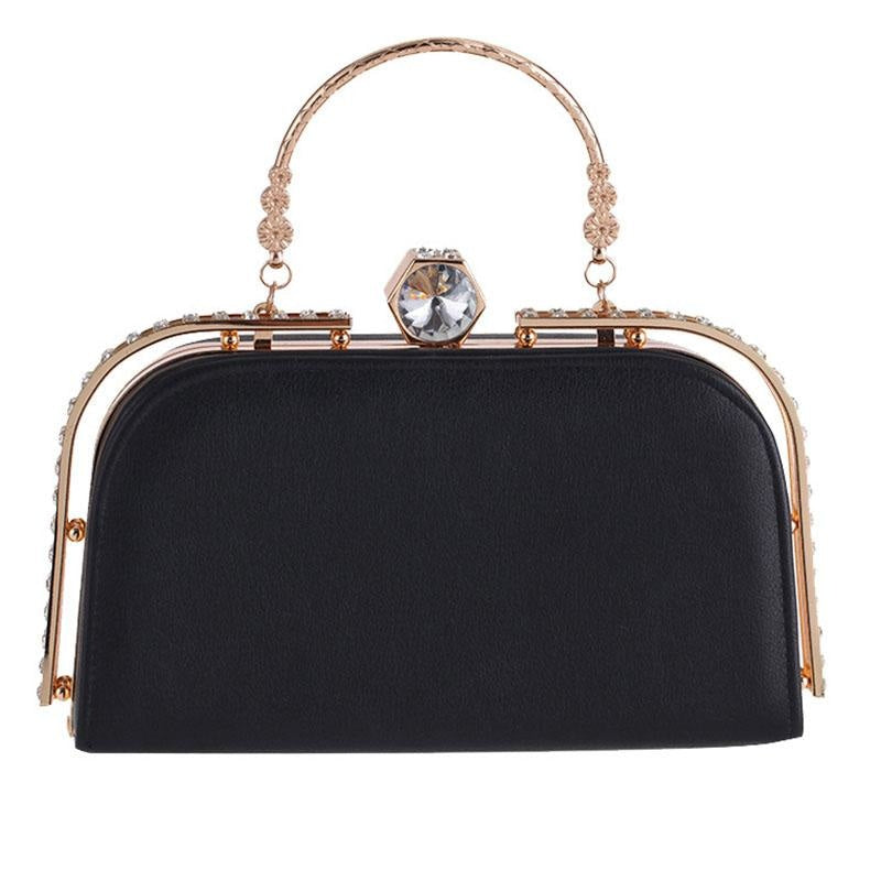 Elegant Metal Crystal Pu Clutch Wedding Handbags | Bridelily - Black - wedding handbags