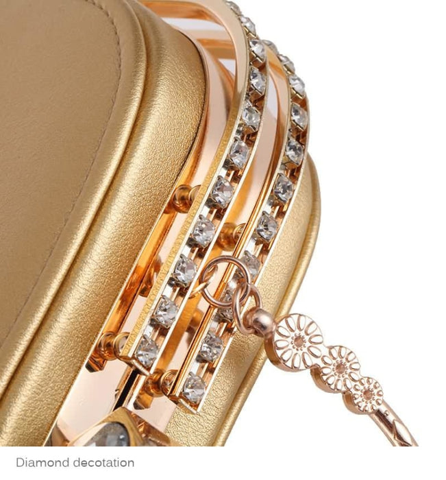 Elegant Metal Crystal Pu Clutch Wedding Handbags | Bridelily - wedding handbags
