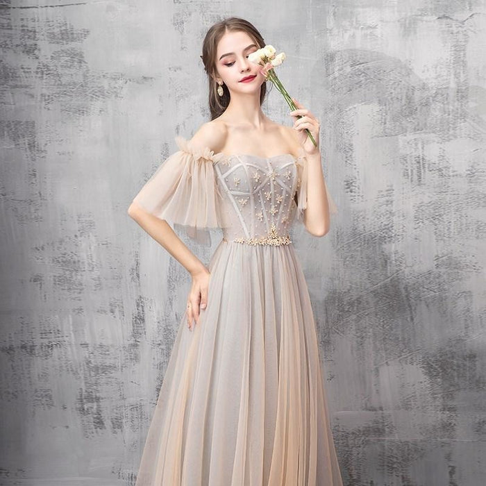Elegant Off Shoulder Floor Length Tulle Prom Dress Bridesmaid Dresses - Prom Dresses