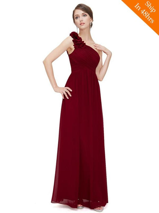 Elegant One Shoulder Chiffon Applique Floor Length Bridesmaid Dresses - bridesmaid dresses