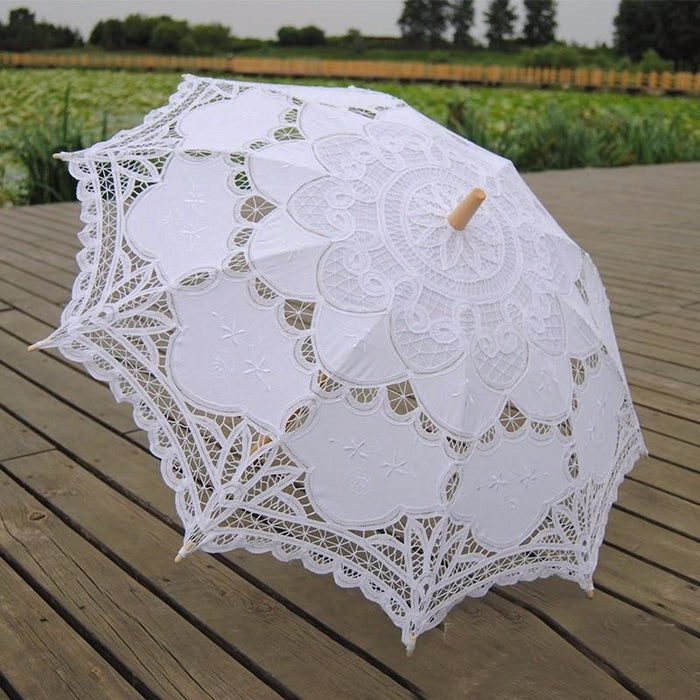 Elegant Palace Style Flower Wedding Umbrellas | Bridelily - White - wedding umbrellas