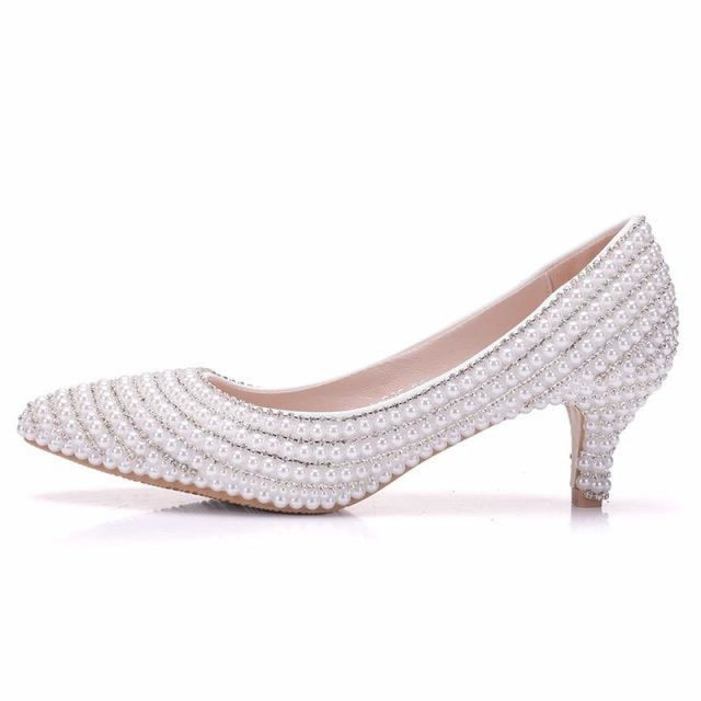 Elegant Pearls High Heels Wedding Pumps | Bridelily - white / 34 - wedding pumps