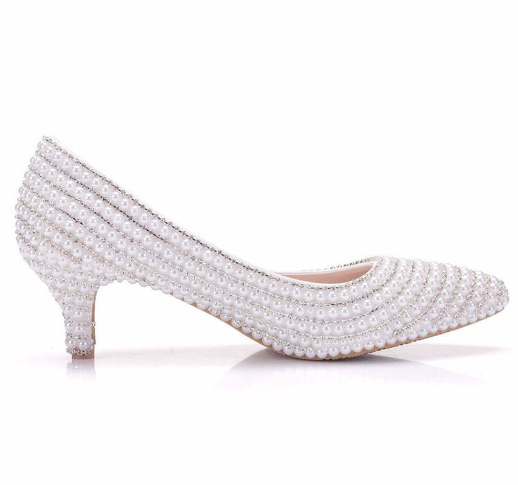 Elegant Pearls High Heels Wedding Pumps | Bridelily - wedding pumps