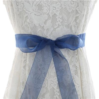 Elegant Pearls Women Belts Wedding Sashes | Bridelily - organza blue / One Size - wedding sashes