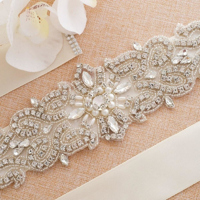 Elegant Pearls Women Belts Wedding Sashes | Bridelily - wedding sashes