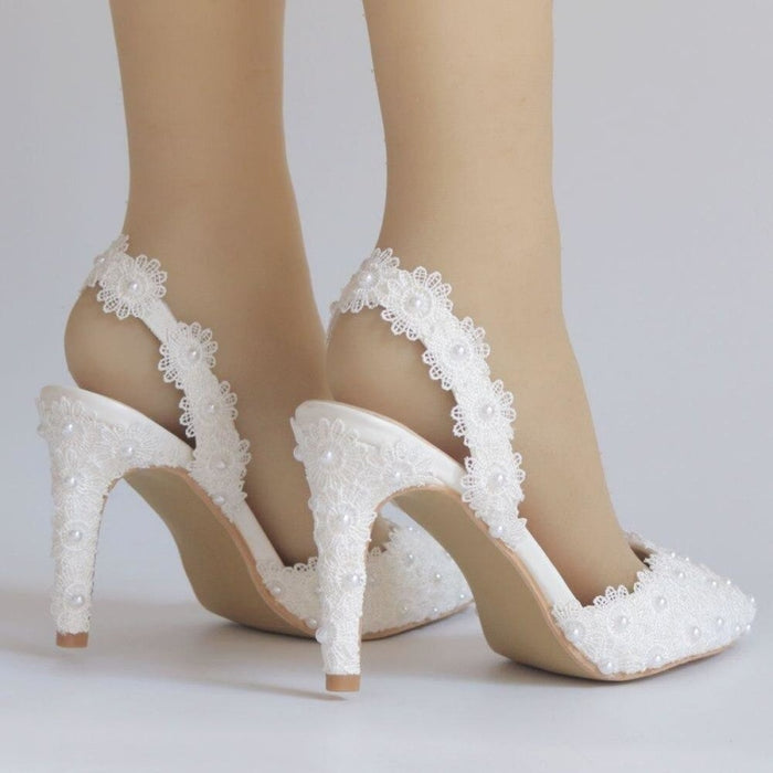 Elegant Pointed Toe Pearls Wedding Sandals | Bridelily - wedding sandals
