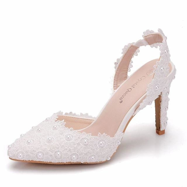 Elegant Pointed Toe Pearls Wedding Sandals | Bridelily - white / 35 - wedding sandals