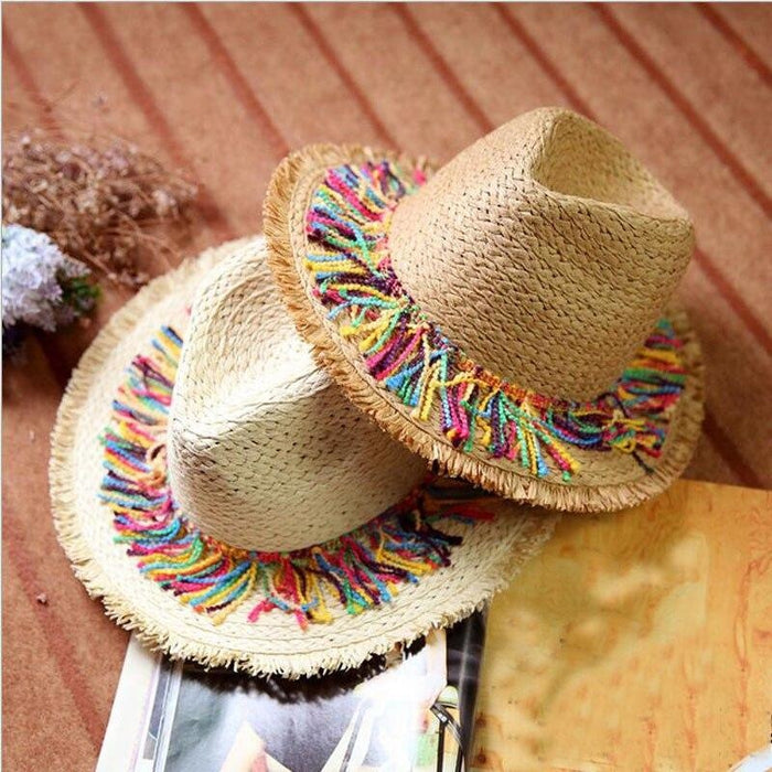 Elegant Raffia Striped Tassel Wide Brim Straw Hats | Bridelily - 2Khaki - straw hats