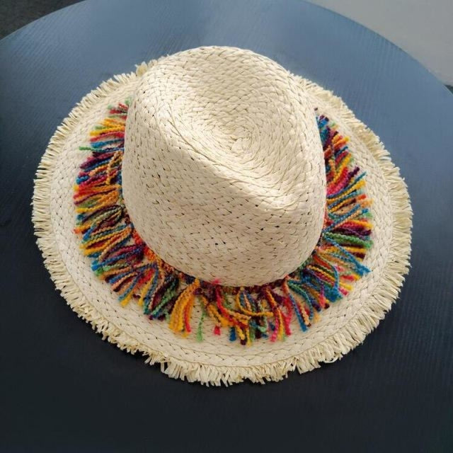 Elegant Raffia Striped Tassel Wide Brim Straw Hats | Bridelily - 1beige - straw hats