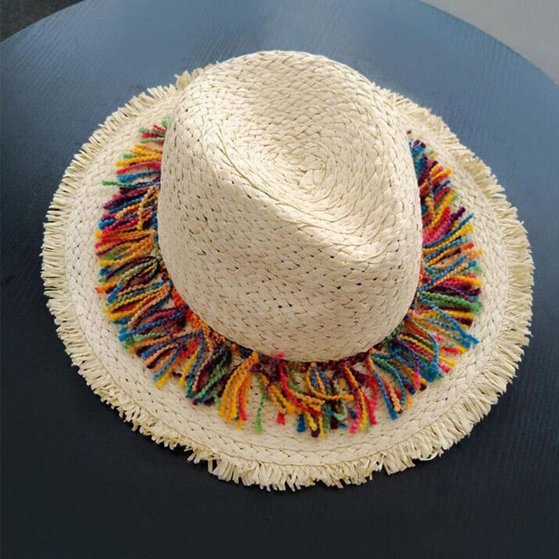 Elegant Raffia Striped Tassel Wide Brim Straw Hats | Bridelily - straw hats