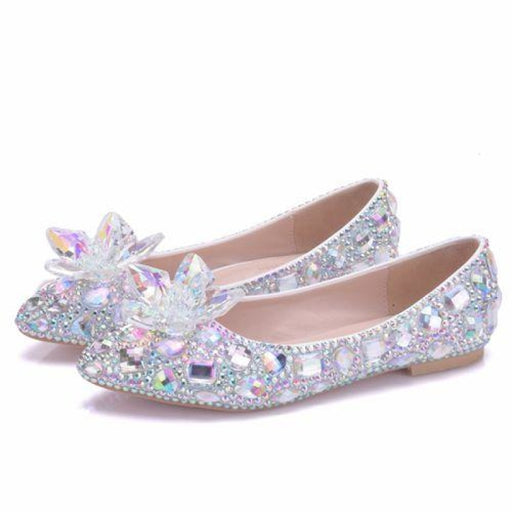 Elegant Rhinestone Handmade Wedding Flats | Bridelily - AB / 34 - wedding flats