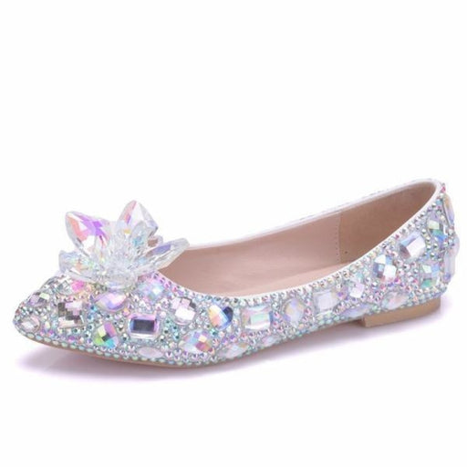 Elegant Rhinestone Handmade Wedding Flats | Bridelily - wedding flats