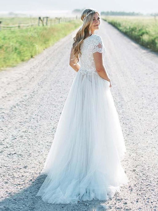 Elegant Short Sleeves Lace Tulle Wedding Dresses - wedding dresses