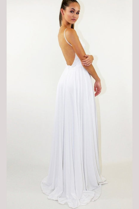 Elegant Sleeveless White Prom Dress for Teens Sexy Split Chiffon Long Evening Dresses - Prom Dresses