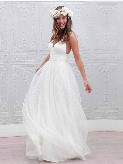 Elegant Spaghetti Straps V-Neck Tulle Wedding Dresses - White / Floor Length - wedding dresses