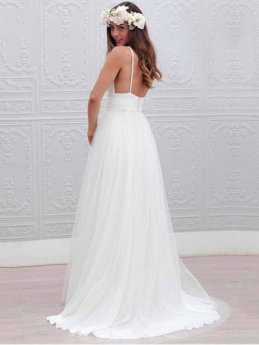 Elegant Spaghetti Straps V-Neck Tulle Wedding Dresses - wedding dresses