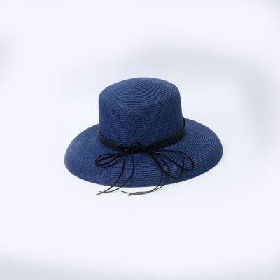 Elegant Straw Bowknot Wide Brim Bowler/Cloche Hats | Bridelily - Navy blue - bowler/cloche hats