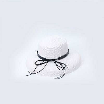 Elegant Straw Bowknot Wide Brim Bowler/Cloche Hats | Bridelily - white - bowler/cloche hats